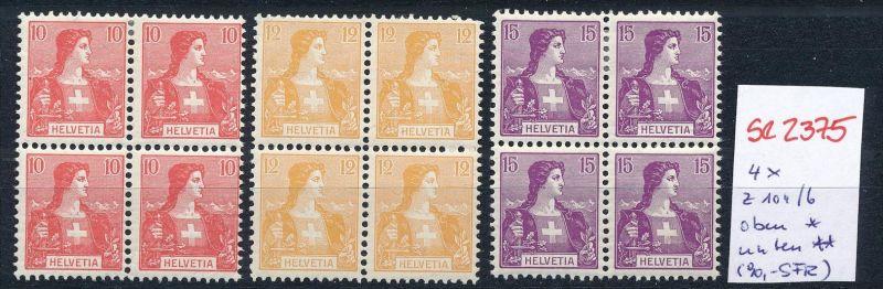Schweiz Nr. 4x  104-6 */**  (Zumstein Nr.+Preis !) ( se2375 ) siehe Bild !