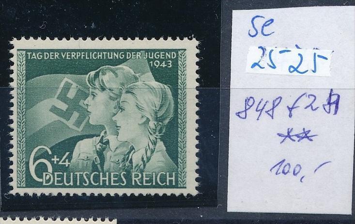 D.-Reich -Plattenfehler   848 f28   **  (se2525   ) siehe scan