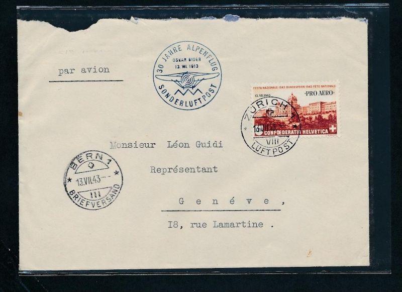 Schweiz -  Luftpost netter Beleg    (t2327   ) siehe scan