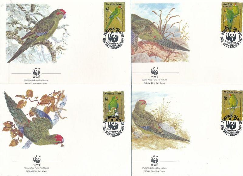 WWF-Vögel  FDC Norfolk   (t2451 ) siehe Bild !