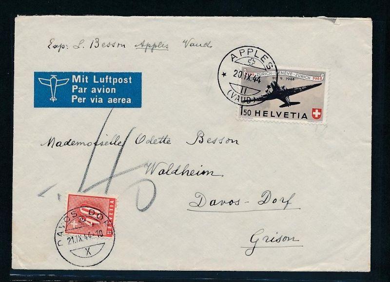 Schweiz Luftpost+Nachporto  - alter Beleg .....( t2743  ) siehe scan