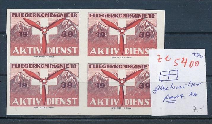 Schweiz - 4er Block  ....Soldaten Marken      (ze5400 ) siehe Bild !