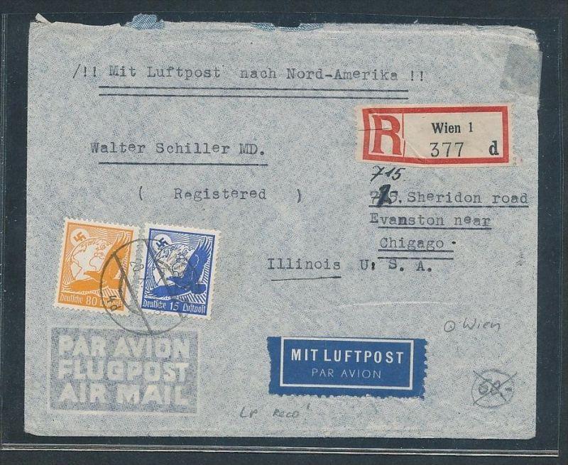 D.-Reich -Zensur+Luftpost Beleg   ... ( t3858  ) siehe scan