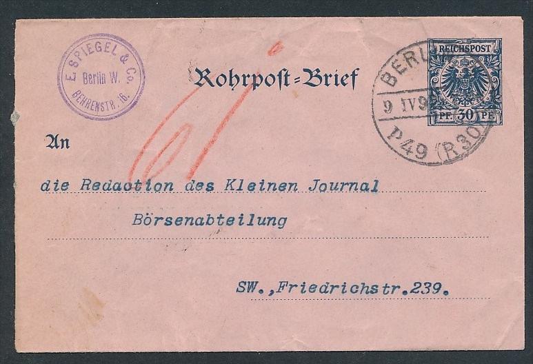 DR.-Rohrpost Ganzsache     ( t3446   ) siehe scan