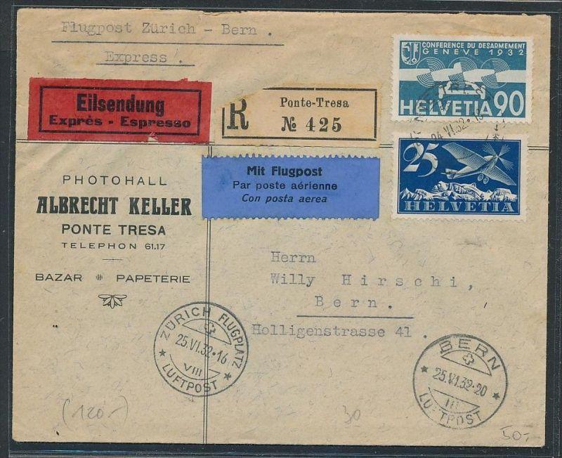 Schweiz Luftpost  -  netter Beleg     ( ze5769  ) siehe scan