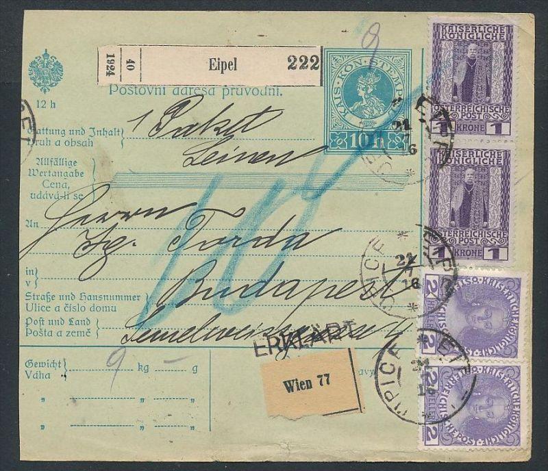 Österreich Ganzsache  Paketkarte  -  netter Beleg     ( ze5796  ) siehe scan