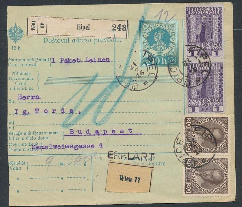 Österreich Ganzsache  Paketkarte  -  netter Beleg     ( ze5795  ) siehe scan