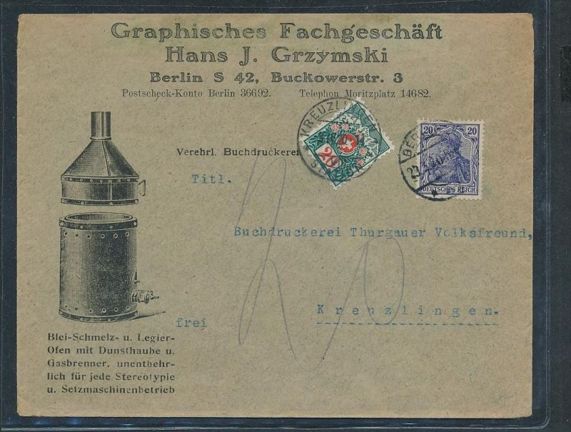 DR.-Nachporto+Zensur in der Schweiz -netter Beleg  ( ze5634  ) siehe scan