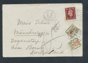 UK  Nachporto Schweiz  Beleg ...... ( t4074 ) siehe scan