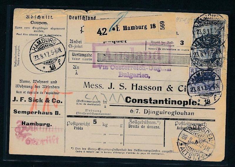 Paketkarte Ausland  alter-netter Beleg.......( t3909 ) siehe scan