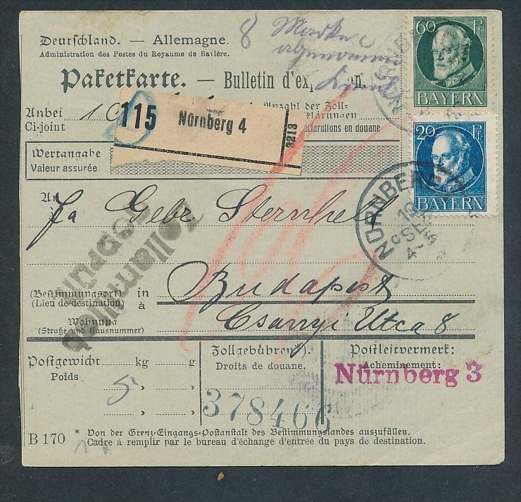 Bayern- Paket Karte ..  - netter  Beleg  .( t3953 ) siehe scan