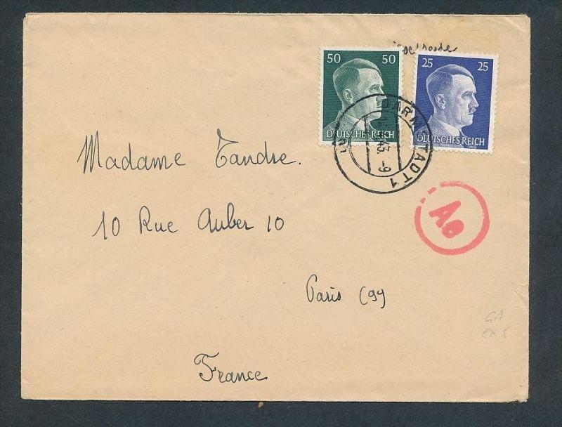 Brief DR-Frankreich   ..  - netter  Beleg  .( t3957 ) siehe scan 0