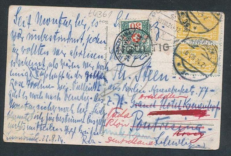 Österreich Karte Nachporto Schweiz.  - netter  Beleg  .( t4361 ) siehe scan