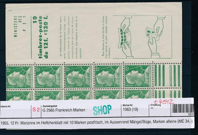 Frankreich Heft Blatt Mariannen....( t4512  ) siehe scan 0