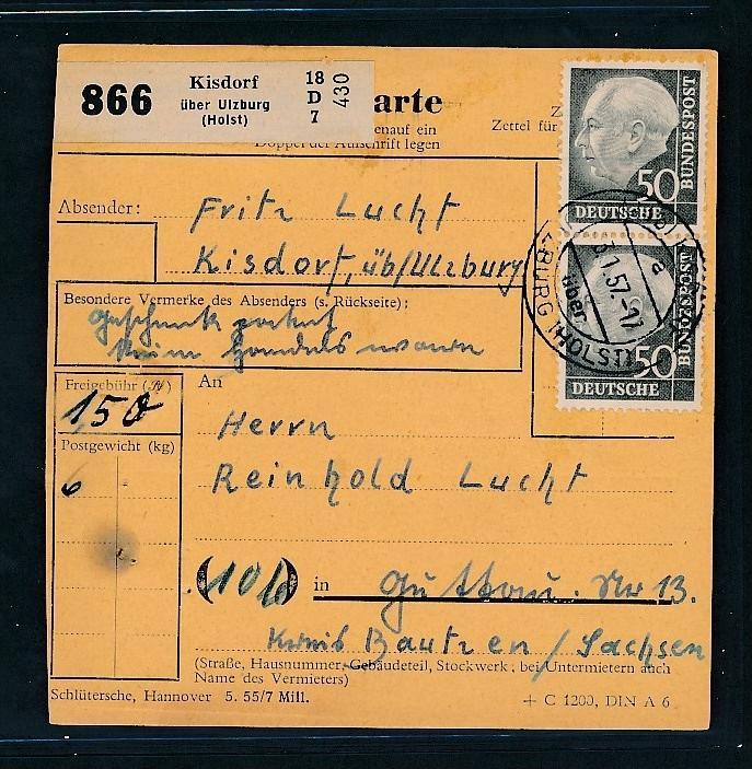 BRD  Paketkarte MEF 50 Pf Heuss...( t3604  ) siehe scan 0