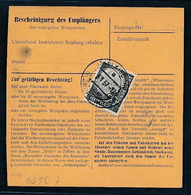 BRD  Paketkarte MEF 50 Pf Heuss...( t3604  ) siehe scan 1