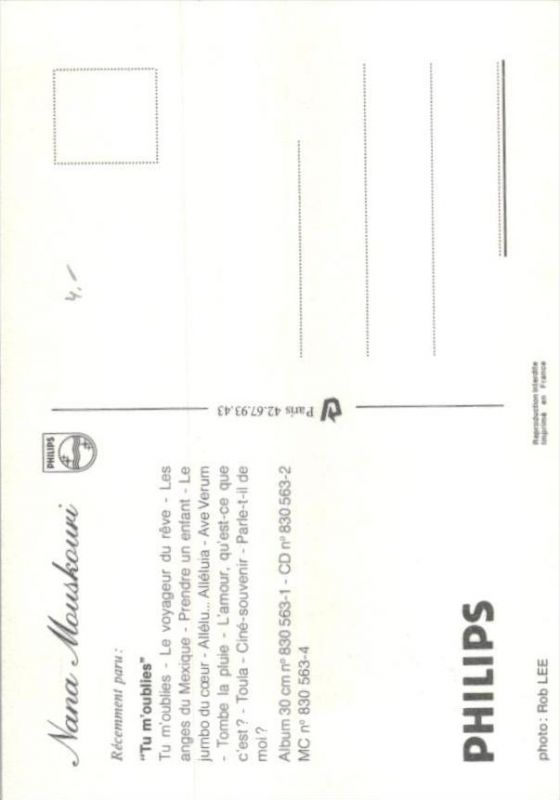 Nana Mouskouri  - Autogramm Karte  .. ( k9552  ) siehe scan 1