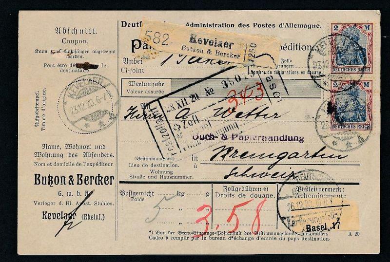 Paketkarte Ausland MEF... -netter Beleg   .. ( ze5839  ) siehe scan