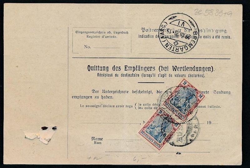 Paketkarte Ausland MEF... -netter Beleg   .. ( ze5839  ) siehe scan 1
