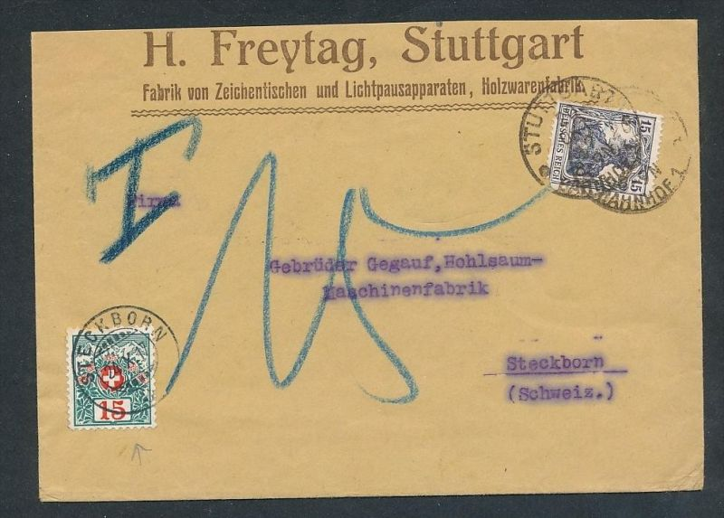 Nachporto Schweiz  - alter  Beleg  ... ( t4004 ) siehe scan