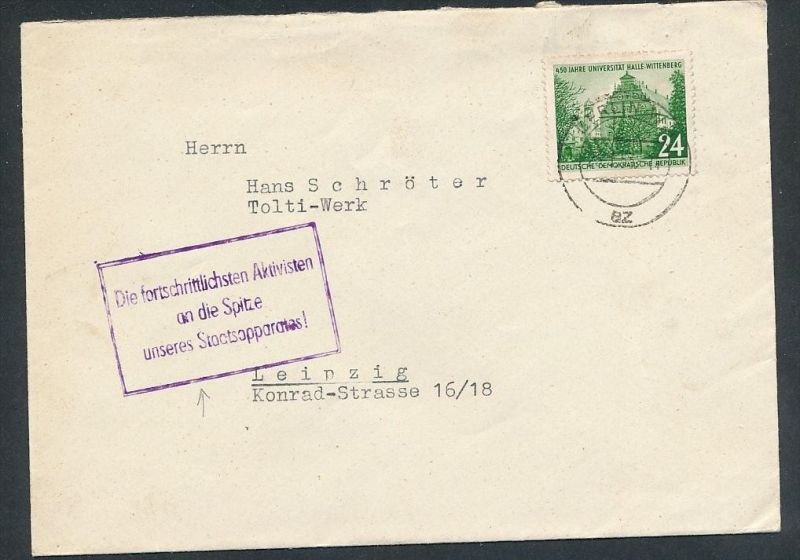 DDR Propaganda -Stempel  -netter  Beleg  ... ( t3980  ) siehe scan 0