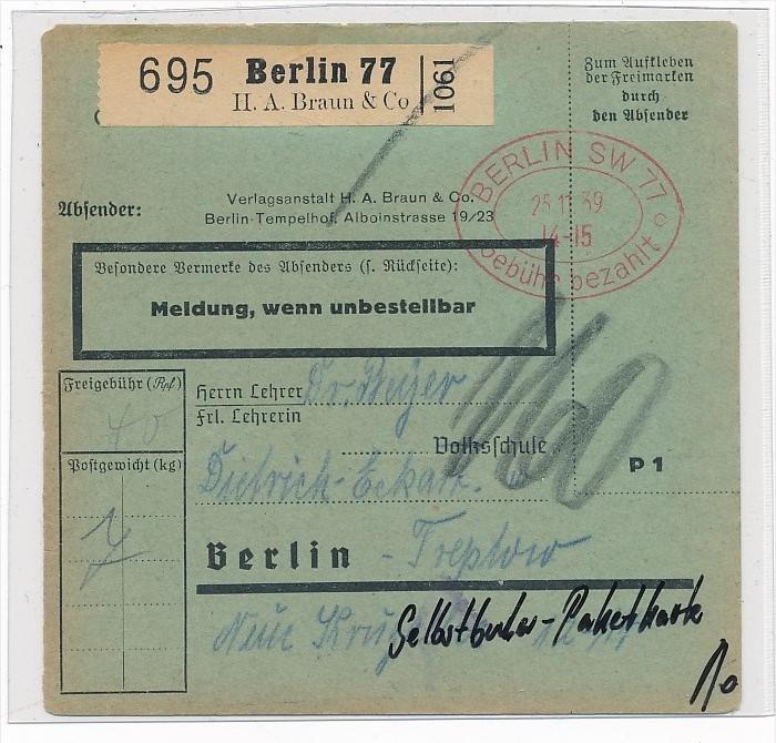 Paketkarte Selbstbucher  -netter  Beleg  ... ( g4608  ) siehe scan 0