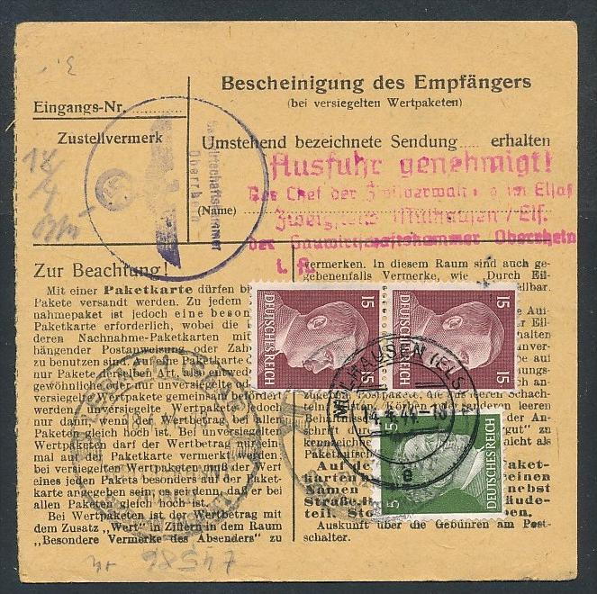Paketkarte...-netter Beleg  ( t4586  ) siehe scan 1