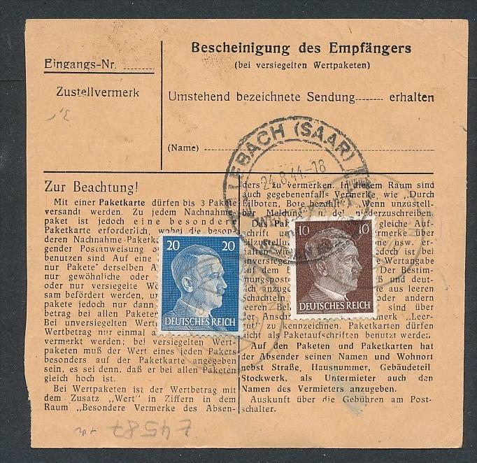 Paketkarte...-netter Beleg  ( t4587  ) siehe scan 1
