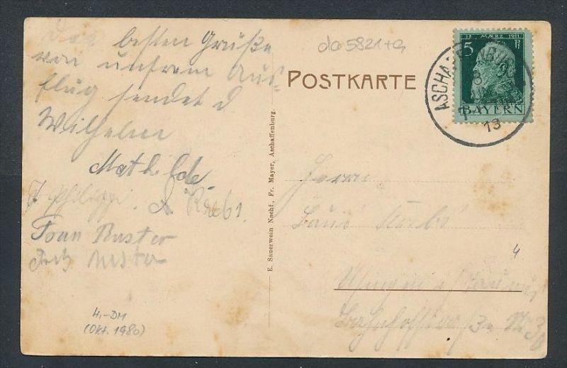 Aschaffenburg  - alte Karte - gebraucht     (da5821 ) siehe Bild ! 1
