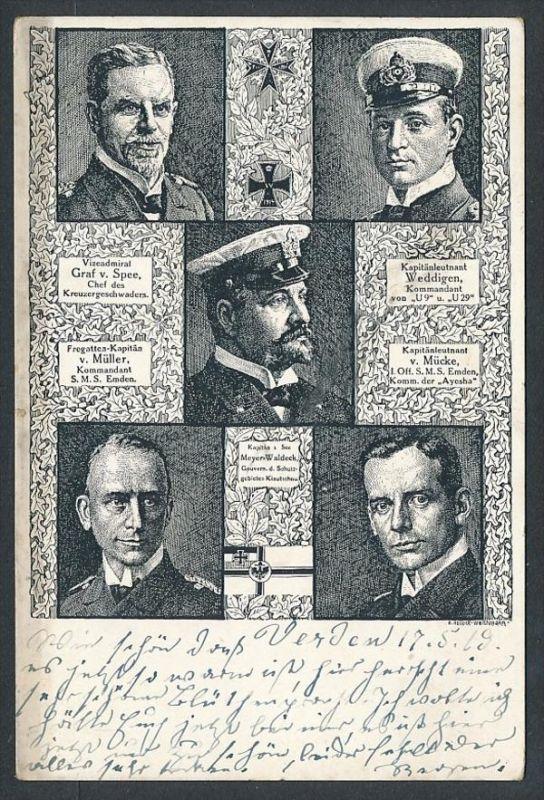 Offiziere der Mariene - alte Karte - gebraucht     (da5828 ) siehe Bild !