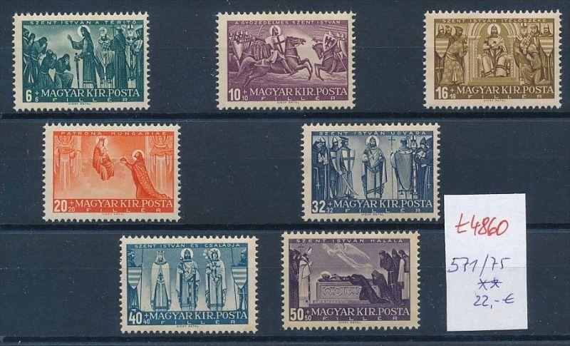 Ungarn Nr. 571-75 Marken aus Block ** (t4860  ) siehe Bild !