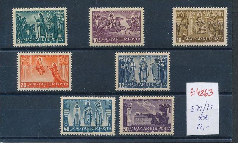 Ungarn Nr. 571-75 Marken aus Block ** (t4863  ) siehe Bild !
