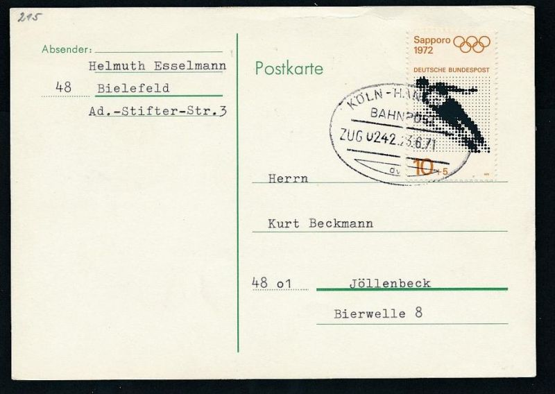 BRD- Bahnpost Stempel-Beleg  (t4985  ) siehe Bild ! 0