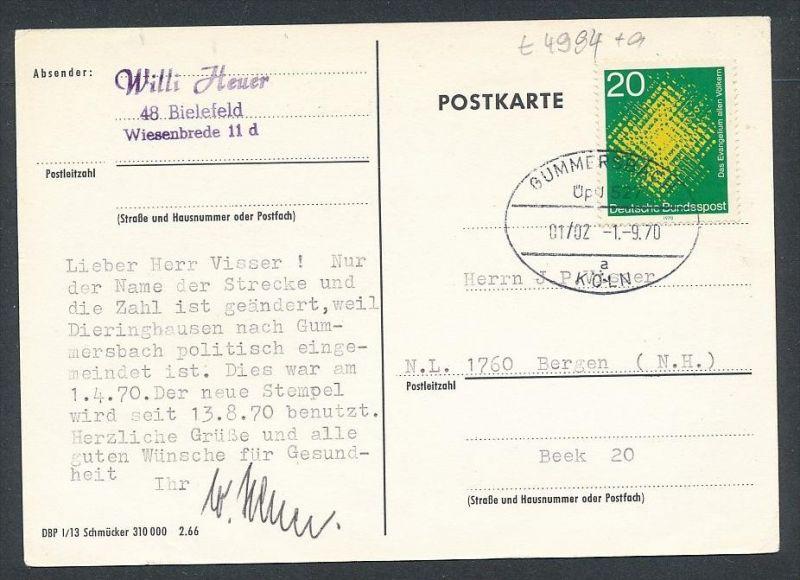 BRD- Bahnpost Stempel-Beleg  (t4994  ) siehe Bild !