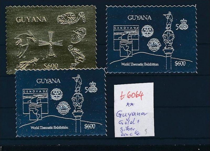 Guyana -Lot Gold + Silber Drucke   (t6064   ) siehe Bild !
