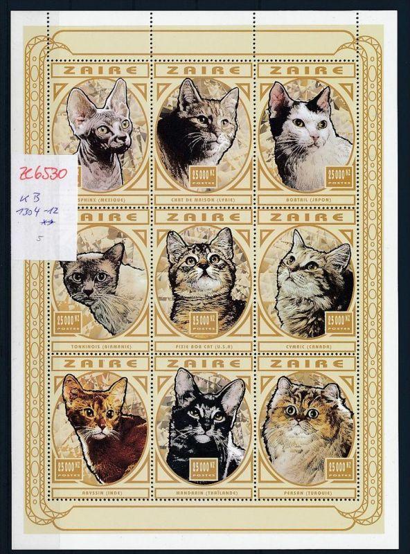 Zaire  KB 1304-12  Katzen  **   (ze6530   ) siehe Bild !