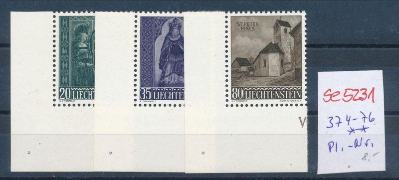 Liechtenstein Nr.  374-76 ** Platten Nr.  ( se5231 ) siehe Bild !
