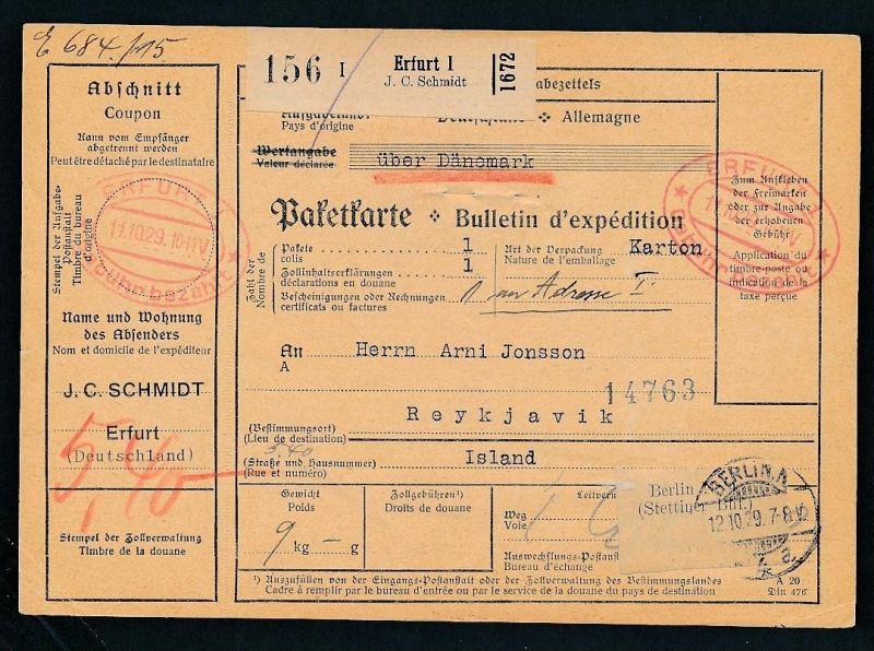 Paketkarte- Ausland /Gebühr bezahlt -netter Beleg....   ( ze6354 )-siehe scan !!