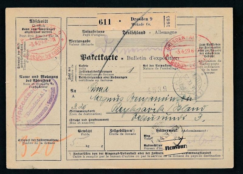 Paketkarte- Ausland /Gebühr bezahlt -netter Beleg....   ( ze6355 )-siehe scan !!