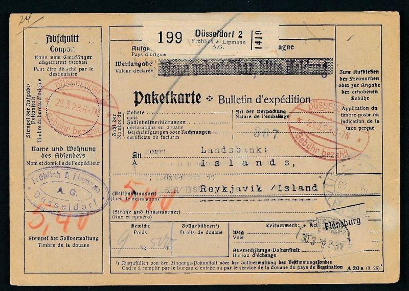 Paketkarte- Ausland /Gebühr bezahlt -netter Beleg....   ( ze6357 )-siehe scan !!