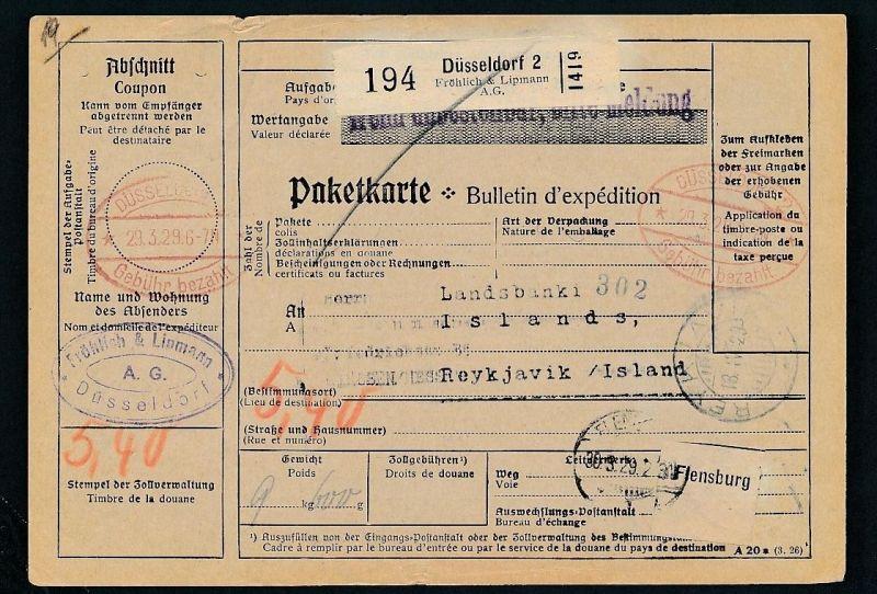 Paketkarte- Ausland /Gebühr bezahlt -netter Beleg....   ( ze6358 )-siehe scan !!