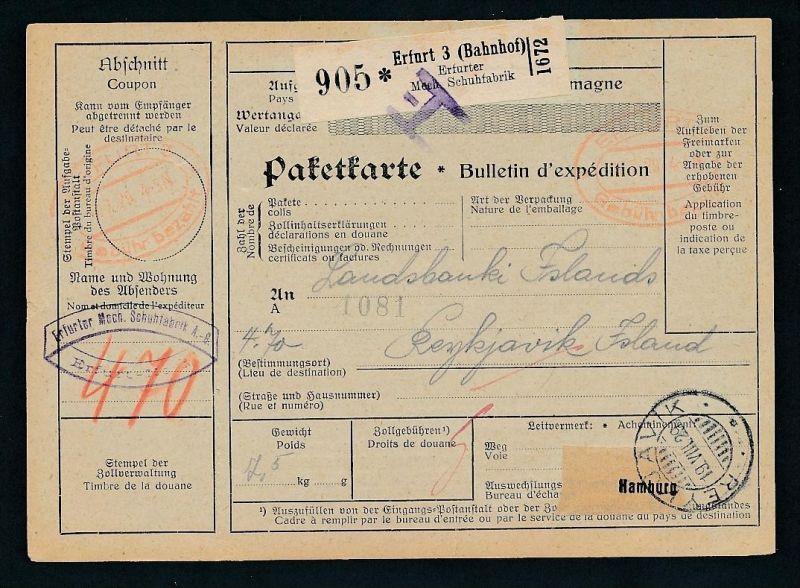 Paketkarte- Ausland /Gebühr bezahlt -netter Beleg....   ( ze6359 )-siehe scan !!
