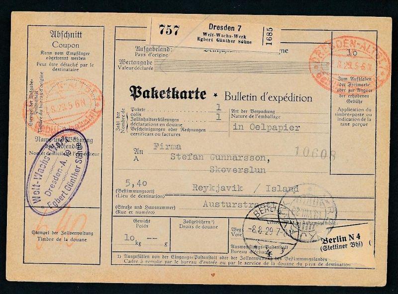 Paketkarte- Ausland /Gebühr bezahlt -netter Beleg....   ( ze6361 )-siehe scan !!