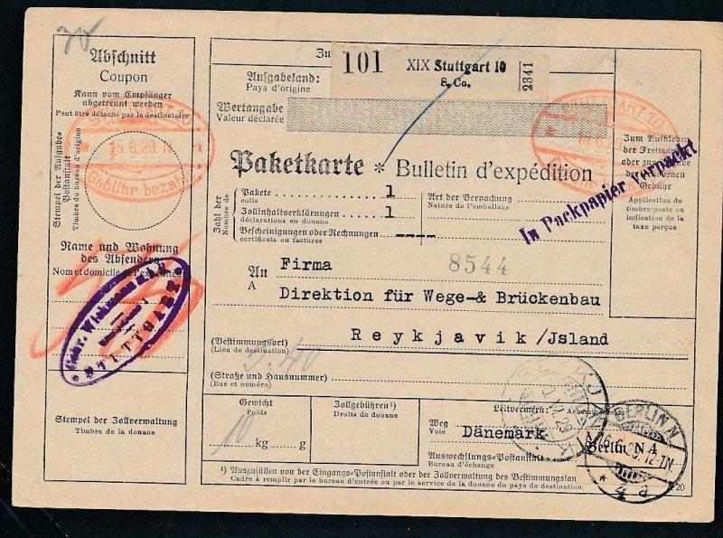 Paketkarte- Ausland /Gebühr bezahlt -netter Beleg....   ( ze6362 )-siehe scan !!