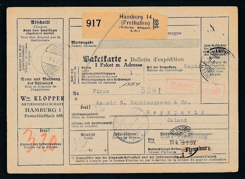 Paketkarte- Ausland /Gebühr bezahlt -netter Beleg....   ( ze6363 )-siehe scan !!