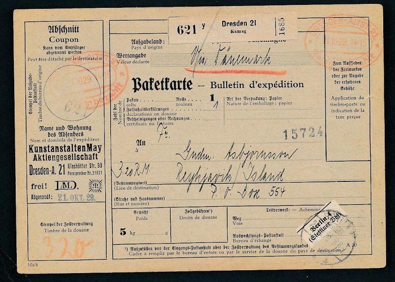 Paketkarte- Ausland /Gebühr bezahlt -netter Beleg....   ( ze6364 )-siehe scan !!