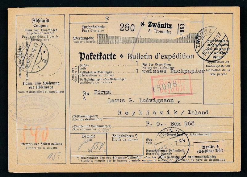 Paketkarte- Ausland /Gebühr bezahlt -netter Beleg....   ( ze6365 )-siehe scan !!