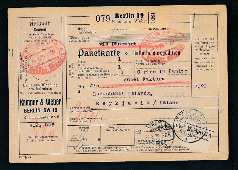Paketkarte- Ausland /Gebühr bezahlt -netter Beleg....   ( ze6367 )-siehe scan !!