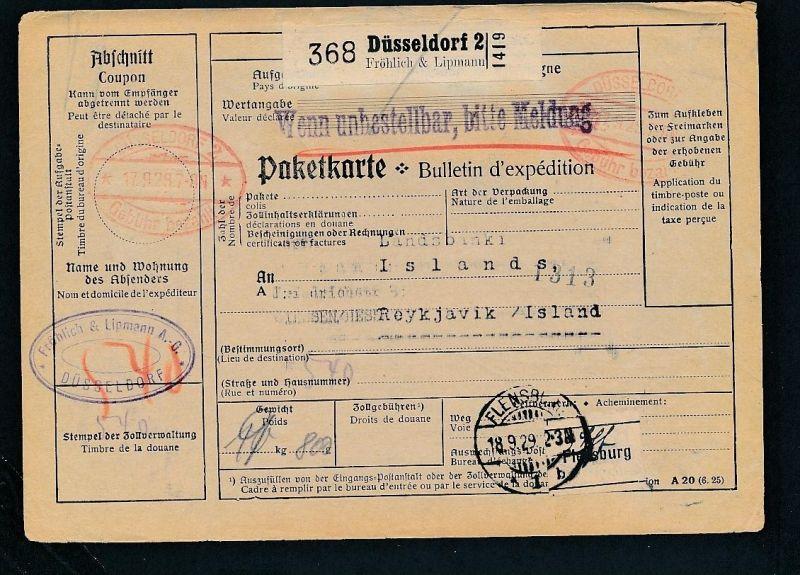 Paketkarte- Ausland /Gebühr bezahlt -netter Beleg....   ( ze6368 )-siehe scan !!