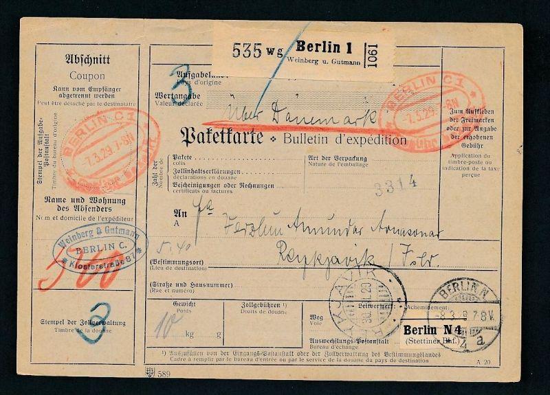 Paketkarte- Ausland /Gebühr bezahlt -netter Beleg....   ( ze6369 )-siehe scan !!